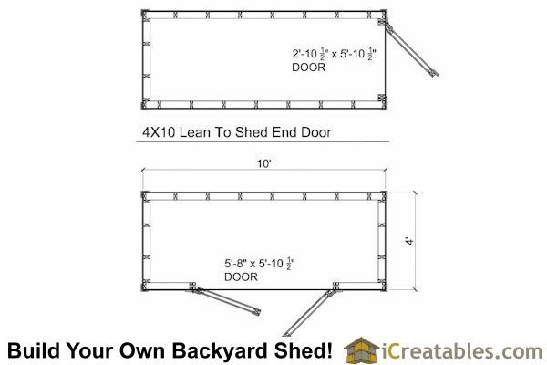 4x10 lean to shed floor plans