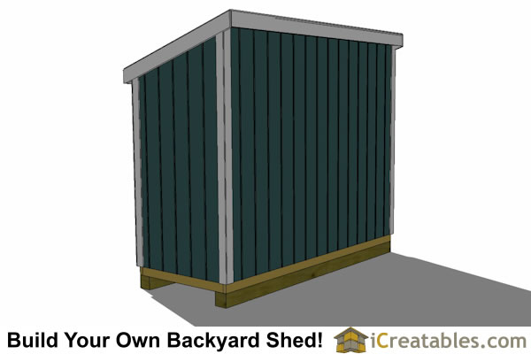 4x10 lean to shed plans right rear elevation