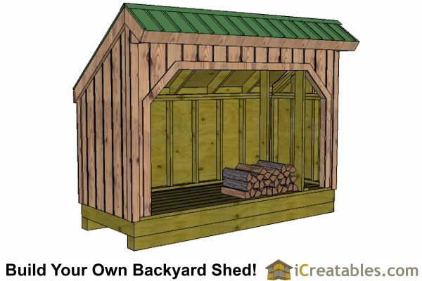 4x10 firewood shed plans front view