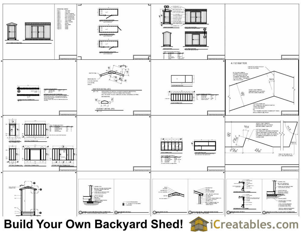 4x12 Gable Shed Plans Example