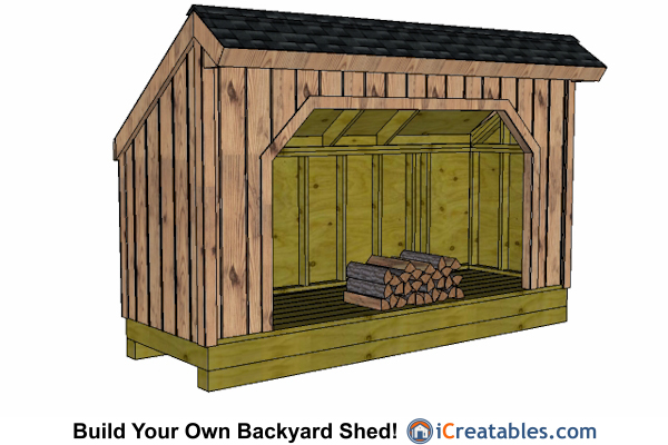 4x12 firewood shed plans front view