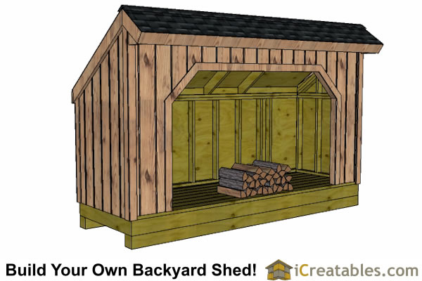 4x12 firewood shed front view