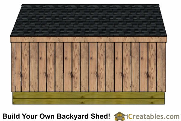 4x12 firewood shed rear elevation