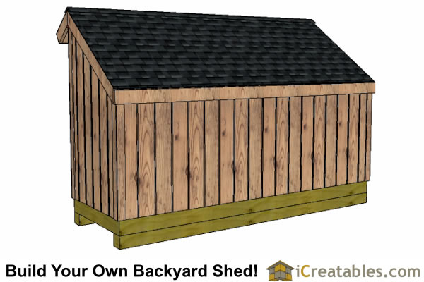 4x12 firewood storage shed right rear elevation