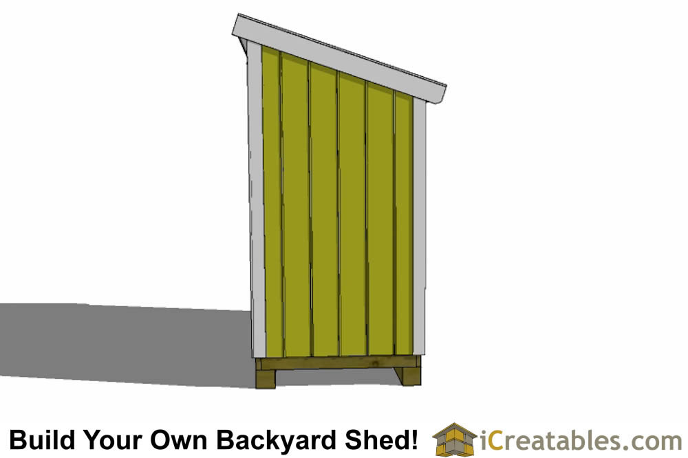 3x12 lean to shed end elevation