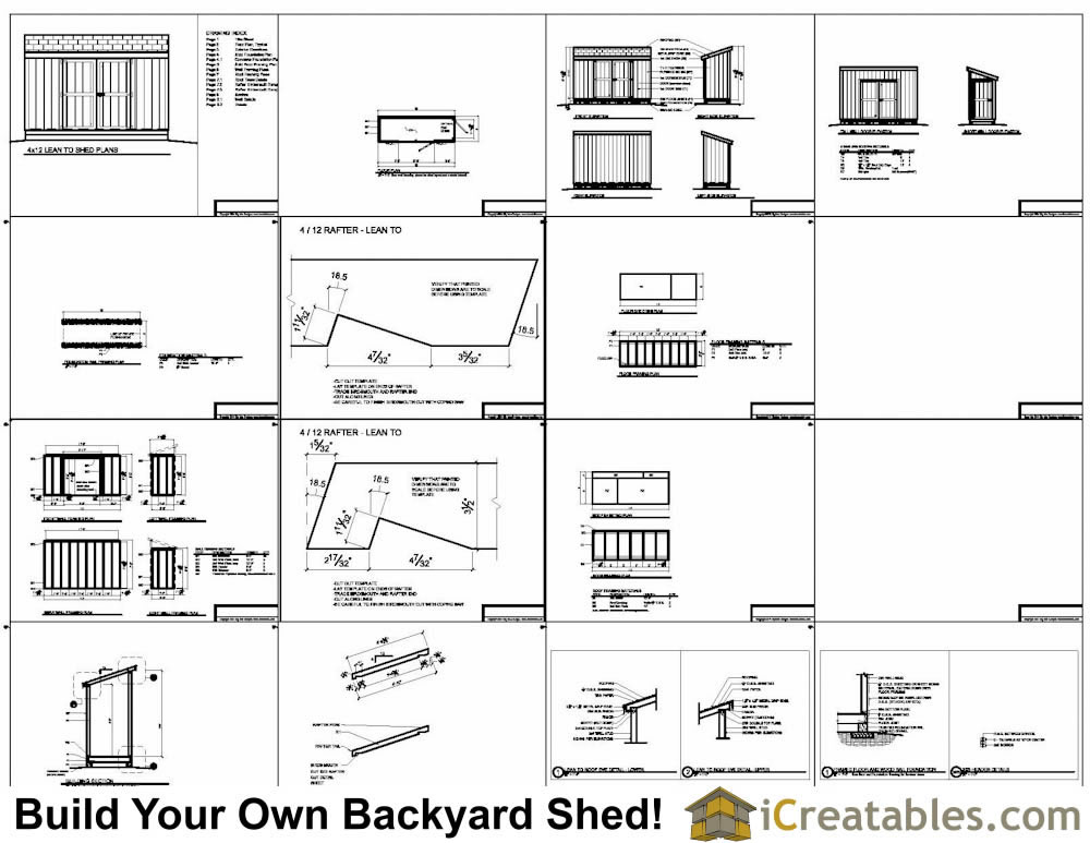 4x12 lean to shed plans