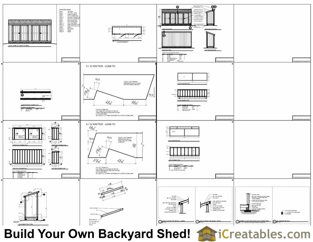 4x16 lean to shed plans example