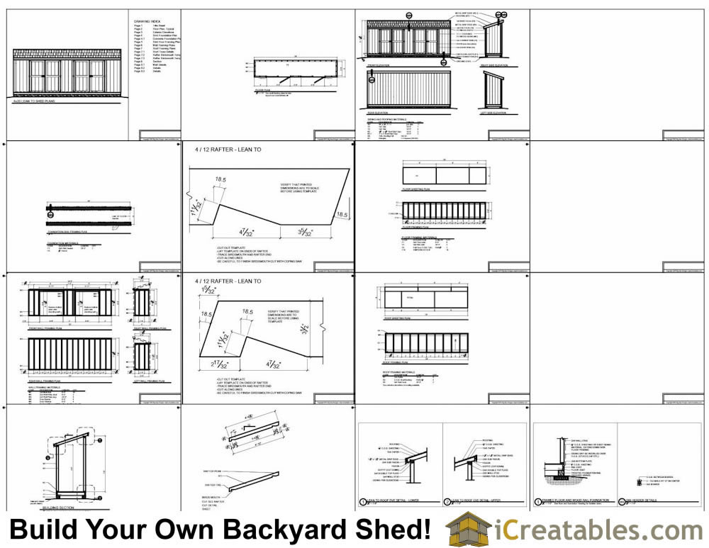 4x20 lean to shed plans example