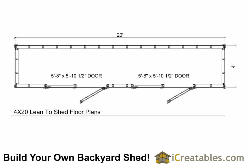 4x16 lean to shed floor plan