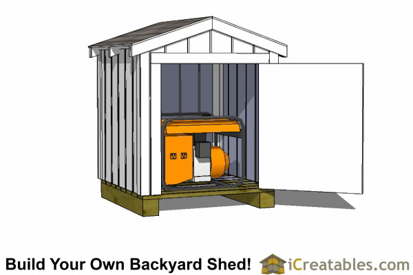4x4 generator shed enclosure door open
