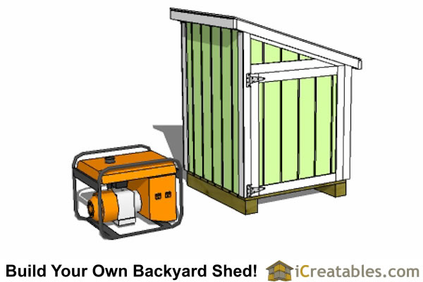 4x4 small lean to generator shed plan