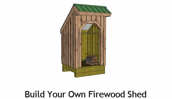 4x4 firewood shed plans front view