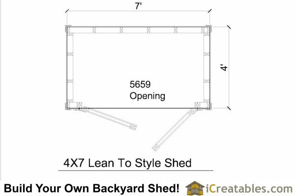 4x7 lean to shed plans icreatables diy outdoor sheds for Storage building floor plans