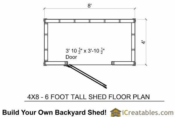 4x8  Lean To shed floor plans