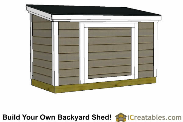 4x8  lean to shed plans 6 feet tall front