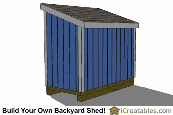 4x8 lean to short shed rear wall