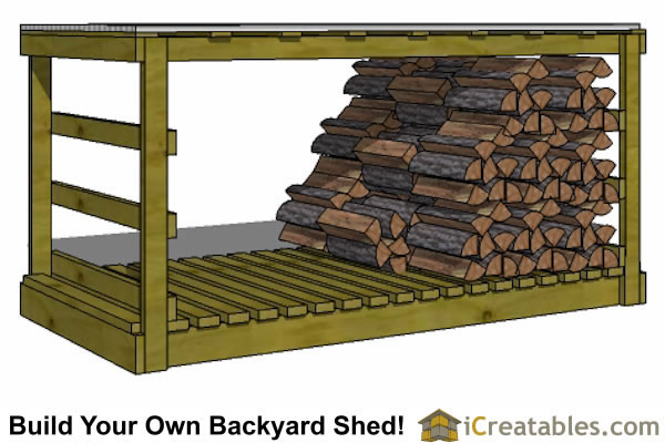 4x8 firewood shed loaded
