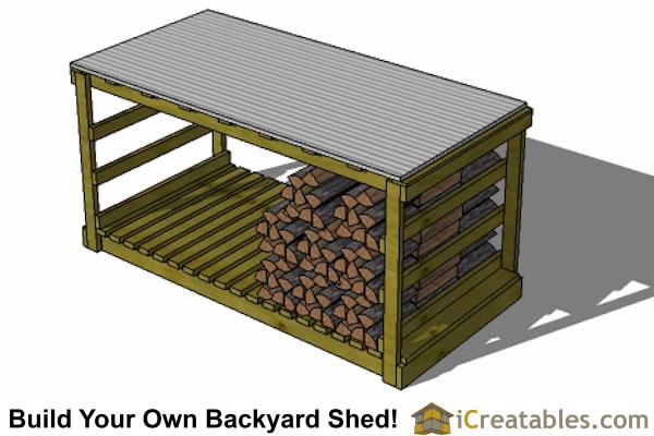 4x8 firewood shed top