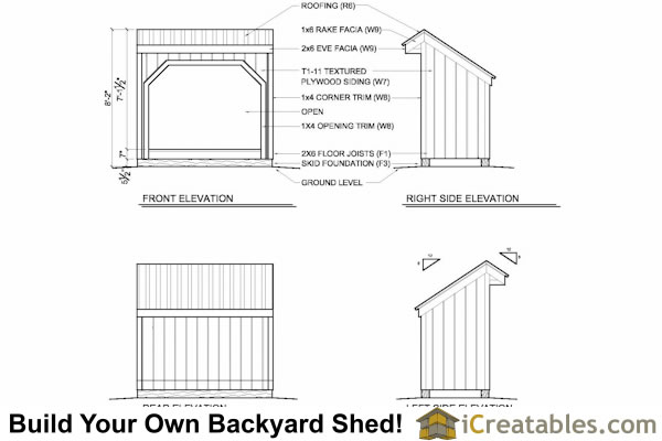 4x8 Wood Shed Shed Plans Include The Following: