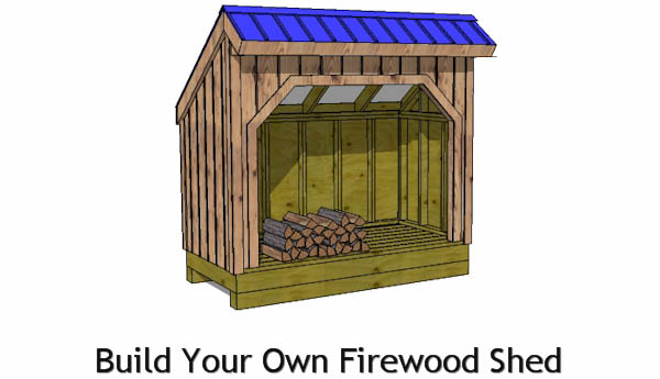 8x12 firewood shed plans front view