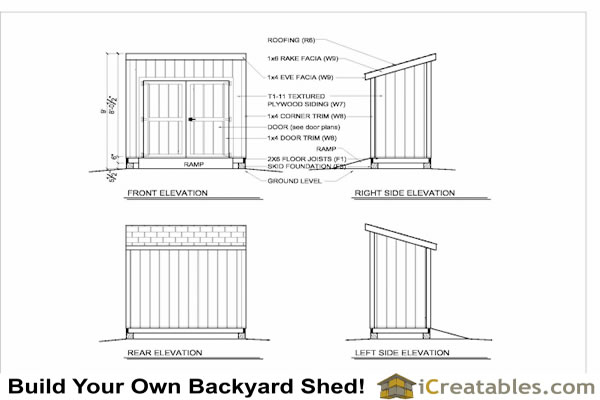 4x8 lean to shed with door on high side shed plan elevations