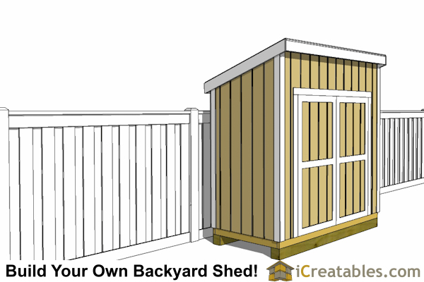4x8 lean to shed with fence front