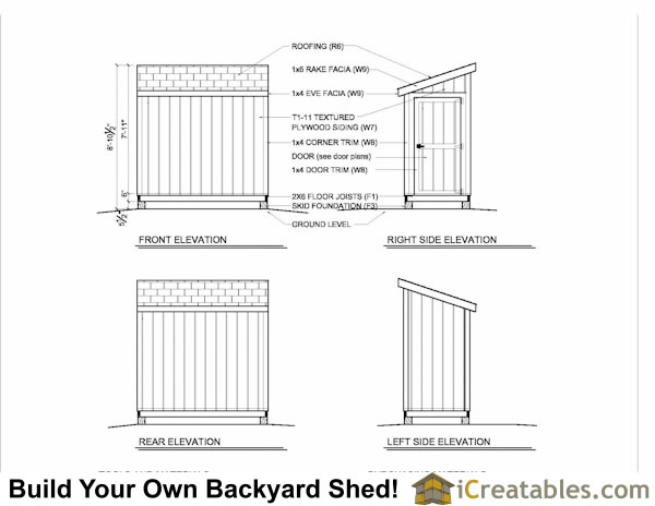 4x8 lean to shed with door on end elevations