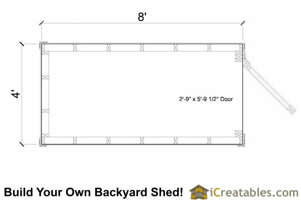 4x8 lean to shed floor plan