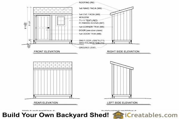 4x8 lean to shed plan elevations