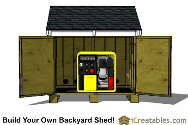 generator enclosure plans lean to roof front