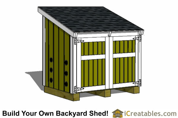 "Garden Sheds 2 X 3 5'-2"" x 3'-8"" lean to generator enclosure plans"