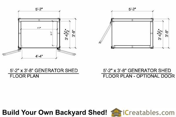 5x4 generator enclosure plans 5x4 generator shed plans Floor plan generator