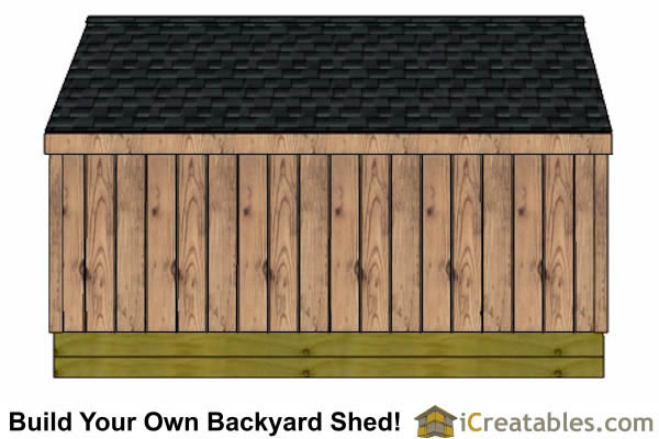 5x12 firewood shed rear elevation