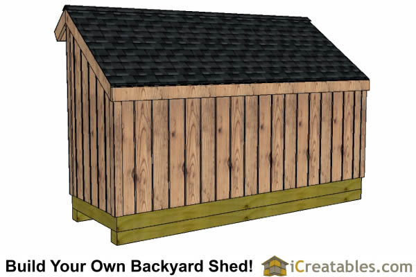 5x12 firewood storage shed right rear elevation