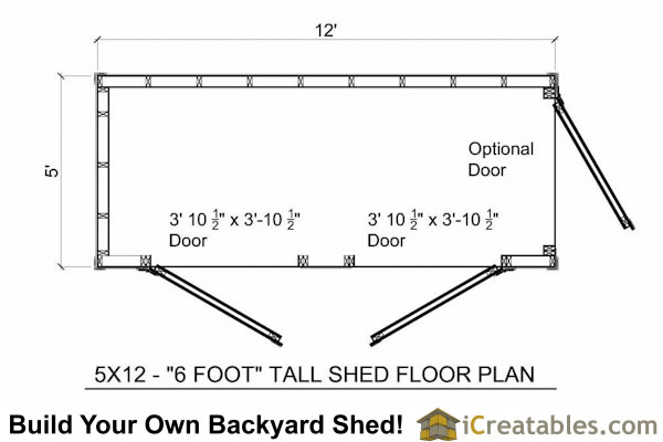 5x12 Lean To shed floor plans