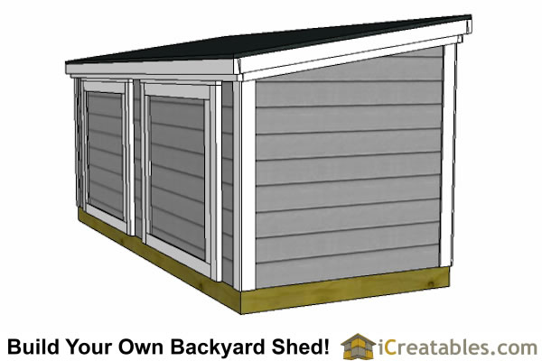 5x12 lean to backyard shed against fence