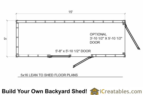 5x16 lean to shed plans floor plan