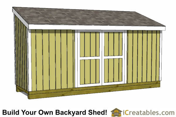5x12 lean to shed plans with doors on low side and end