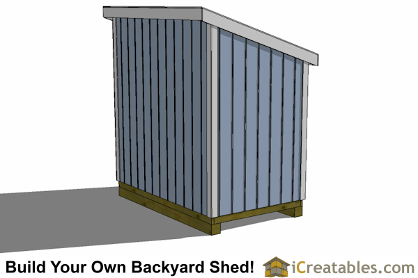 5x8 lean to shed plan rear view