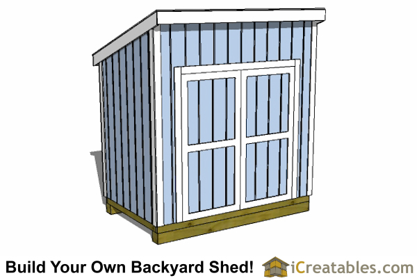 5x8 lean to shed plan with door on tall wall