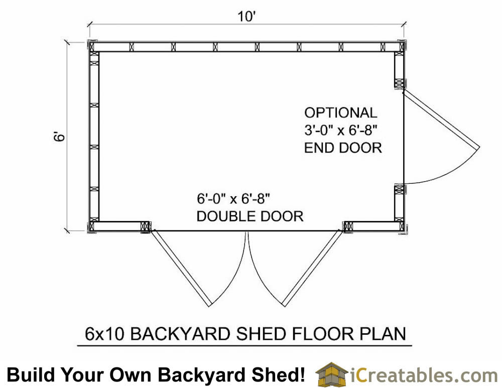 6x10 shed plans 6x10 storage shed pre hung door for Shed floor plans