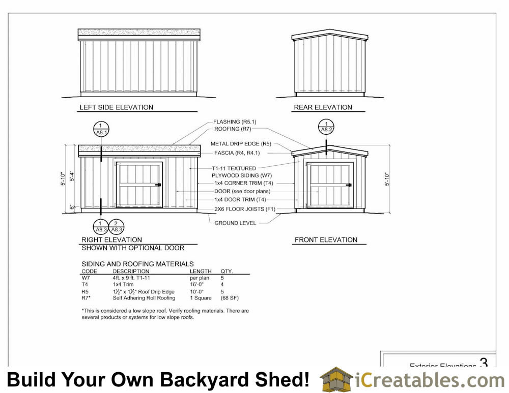 6x10 6 foot tall shed plan elevations