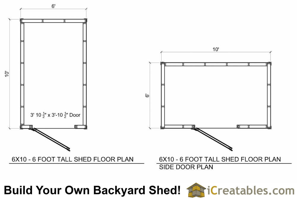 6x10  foot tall shed plan floor plan