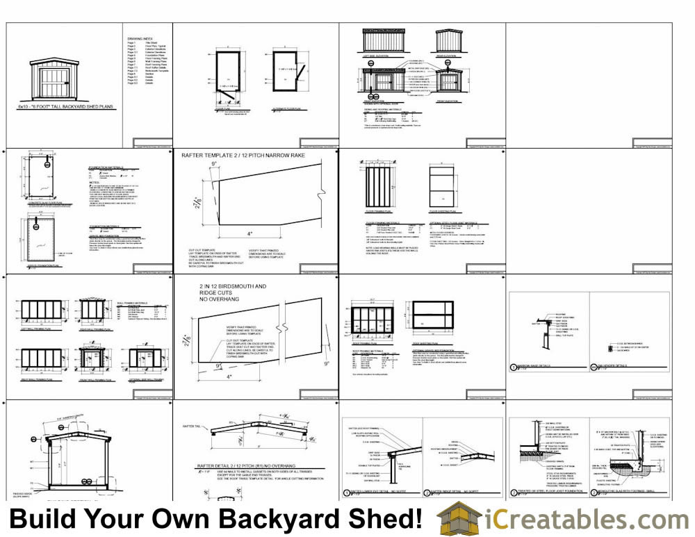 6x10 short backyard homeowner association Shed With 8 Foot Walls Plans Example