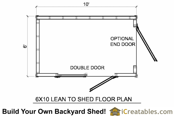 6x10 lean to shed floor plan
