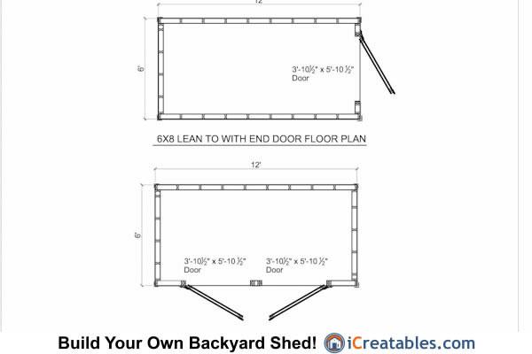 6x12 lean to shed floor plan