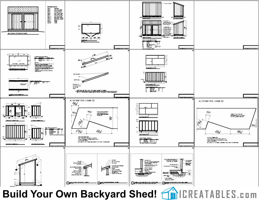 6x12 lean to shed plan elevations