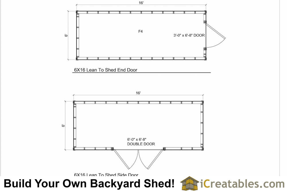6x16 Lean to shed plans floor plan