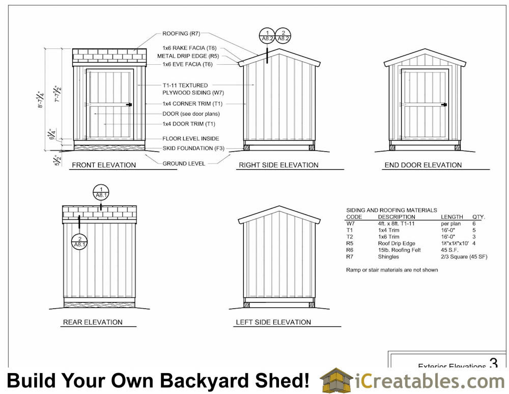 6x6 storage shed exterior elevations
