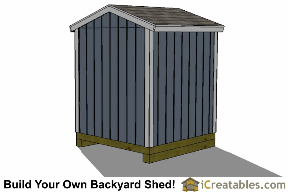 6x6 backyard shed plans right rear view